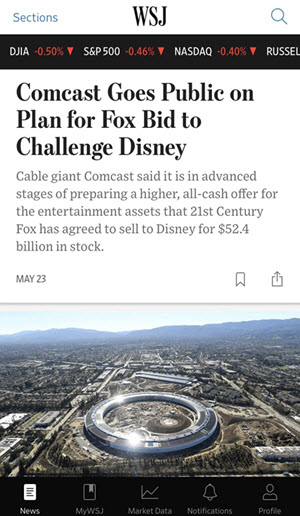 sample of wsj.com on mobile device