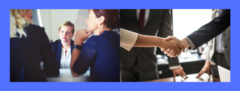 There are two images side by side. One is of a candidate being interviewed and the other is of a hand shake.