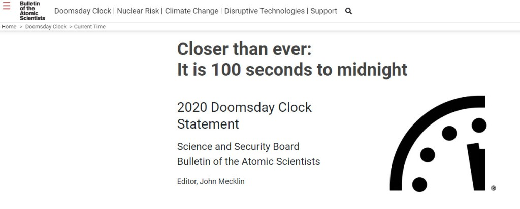 Image of Doomsday clock from the Bulletin of Atomic Scientists showing that the clock is now at 100 seconds to midnight