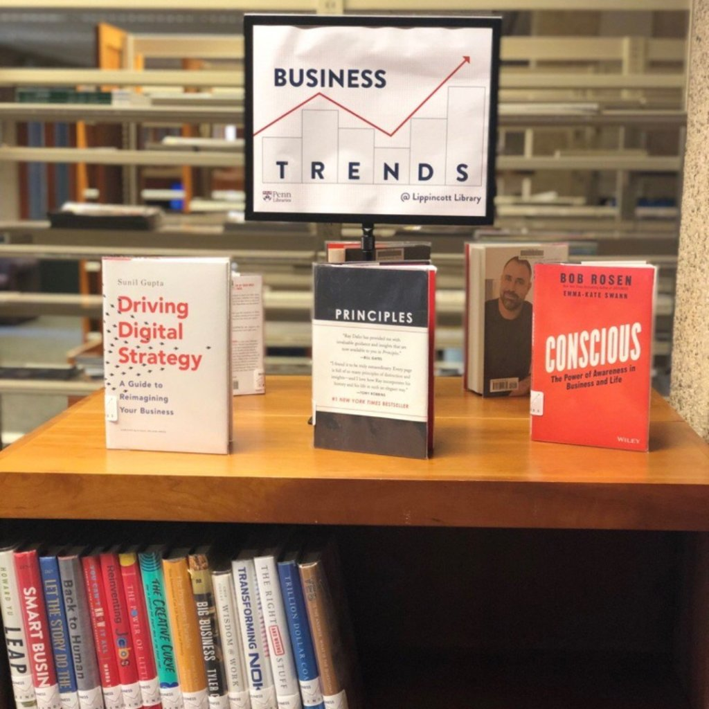Business Trends display area and bookshelves filled with books in the Lippincott Library