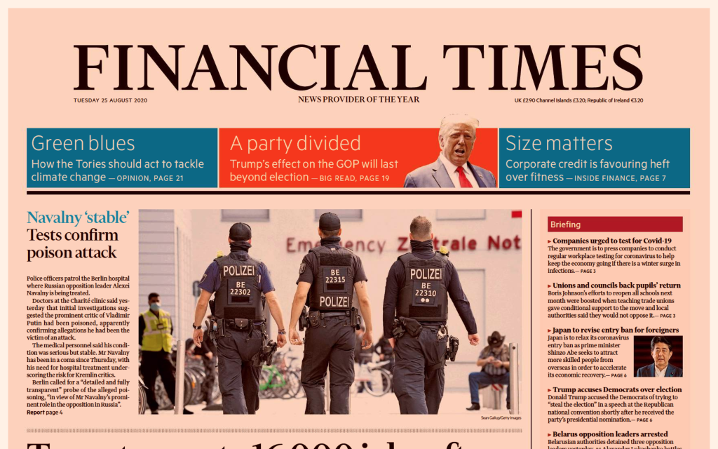 This is an image of the front page of the August 25, 2020 edition of the Financial Times.
