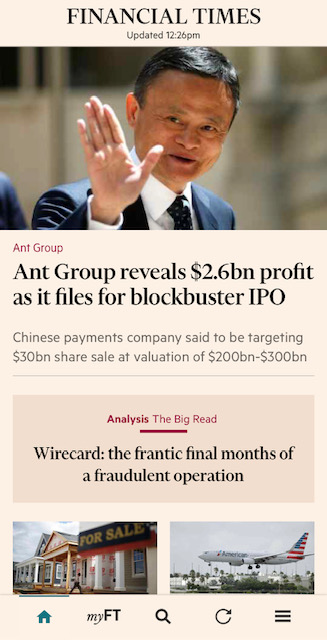 This is an image of the mobile app for the Financial Times.