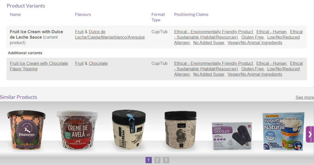 Mintel Global New Products Database product record reflecting product variants and links to Global New Products Database records for similar products