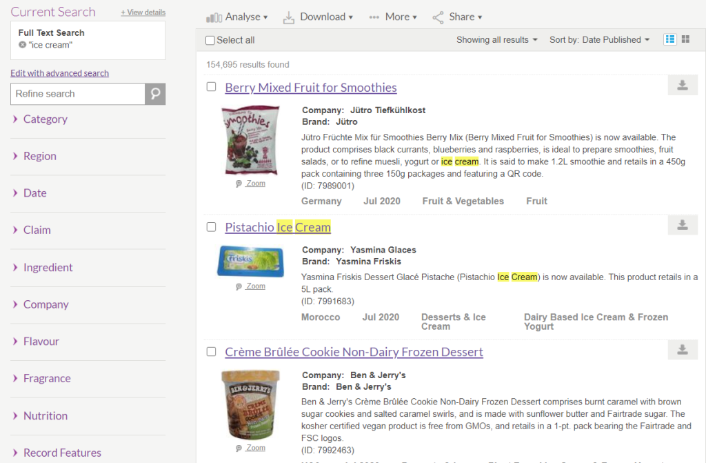 """Mintel Global New Products Database search results page for """"ice cream"""""""
