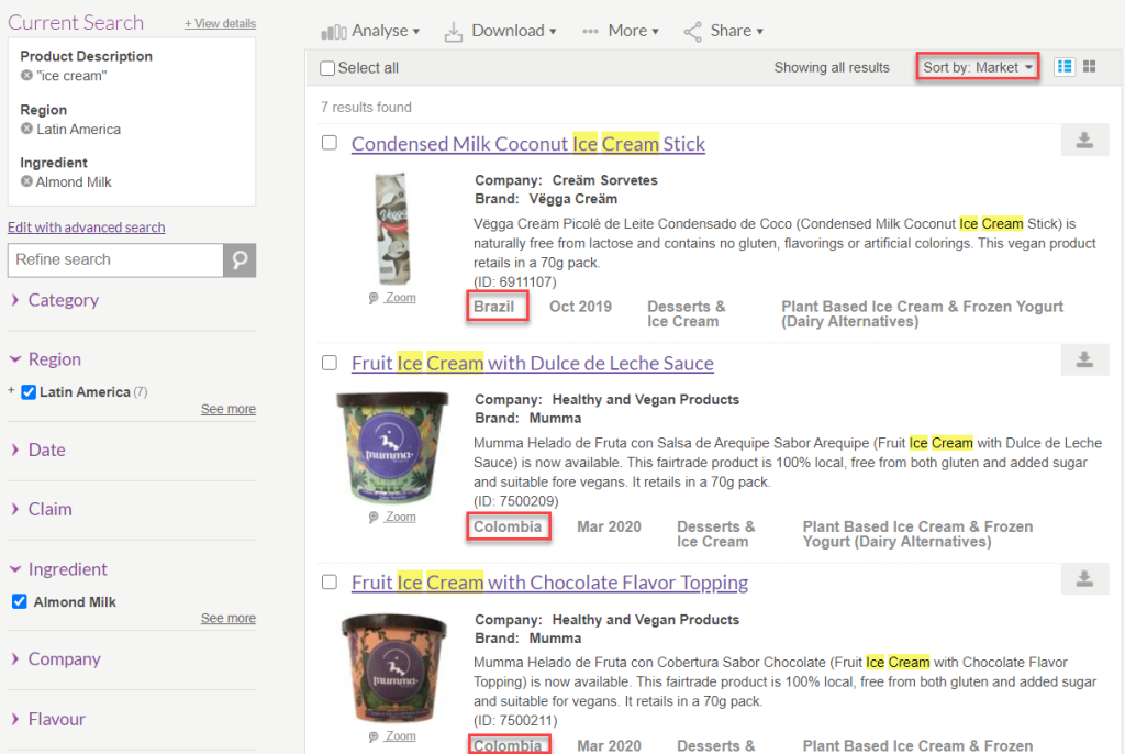 Mintel Global New Products Database search results page with option to sort results by Market outlined