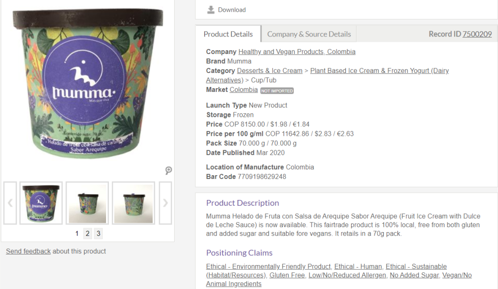 Mintel Global New Products Database product record reflecting information on Product Details tab