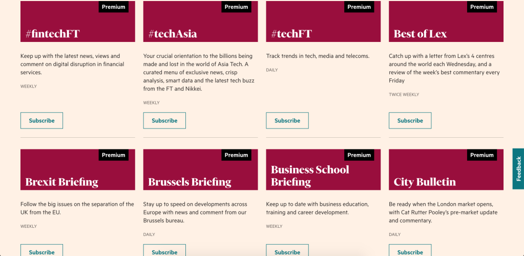 This is an image of a dashboard in the myFT feature of FT.com that allows users to select newsletters to which they would like to subscribe.