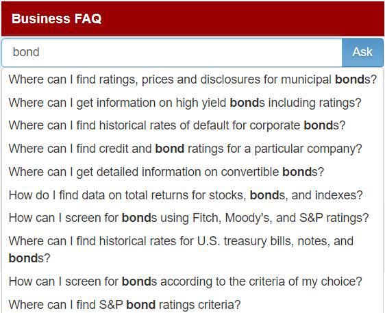 Business FAQ keyword search for bond