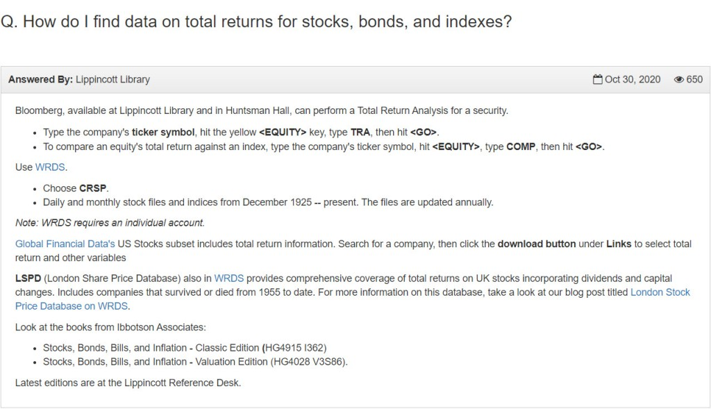 """Business FAQ answer to the question """"How do I find data on total returns for stocks, bonds, and indexes?"""""""