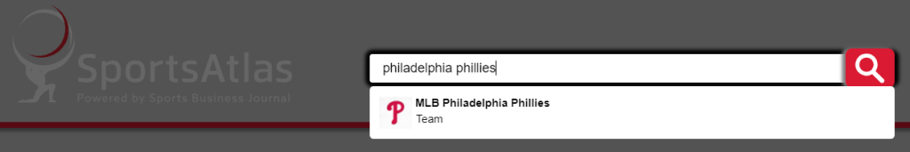 An image of a user search in Sports Atlas for the phrase Philadelphia Phillies